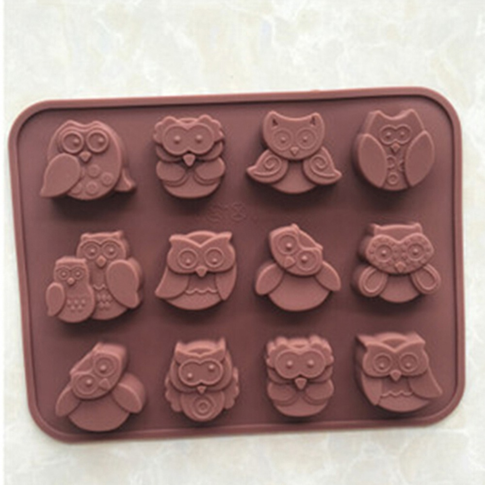 Astonishing 1Pc Cute 12 Even Owl Shape 3D Silicone Cake Mold Fondant Cake Funny Birthday Cards Online Alyptdamsfinfo