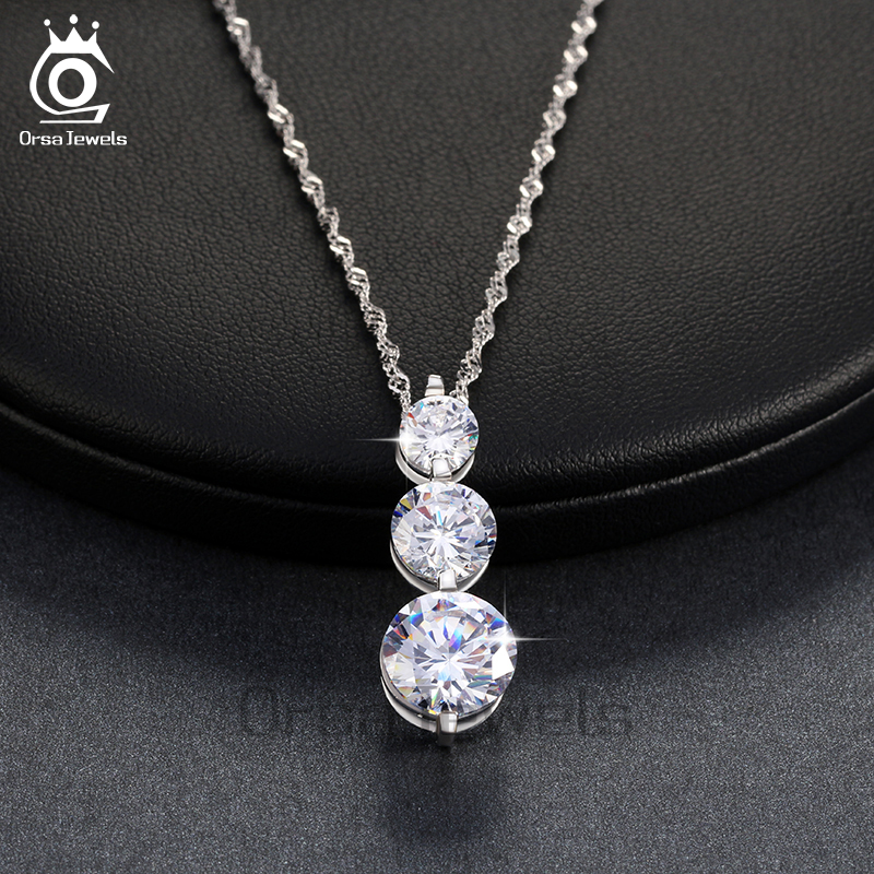 ORSA JEWELS Luxury 3 Pieces Clear Cubic Zirconia Pendant Nec