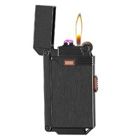 2 IN 1 USB Electric Double Arc Lighter Rechargeable Windproof Lighter Refillable Gas Flame Cigarette Dual Thunder Plasma Lighter