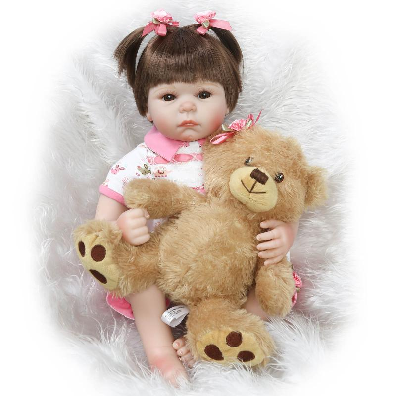 dollmai 22inches lifelike Silkworm reborn baby soft silicone vinyl real touch doll lovely newborn baby with bear Plush dolldollmai 22inches lifelike Silkworm reborn baby soft silicone vinyl real touch doll lovely newborn baby with bear Plush doll