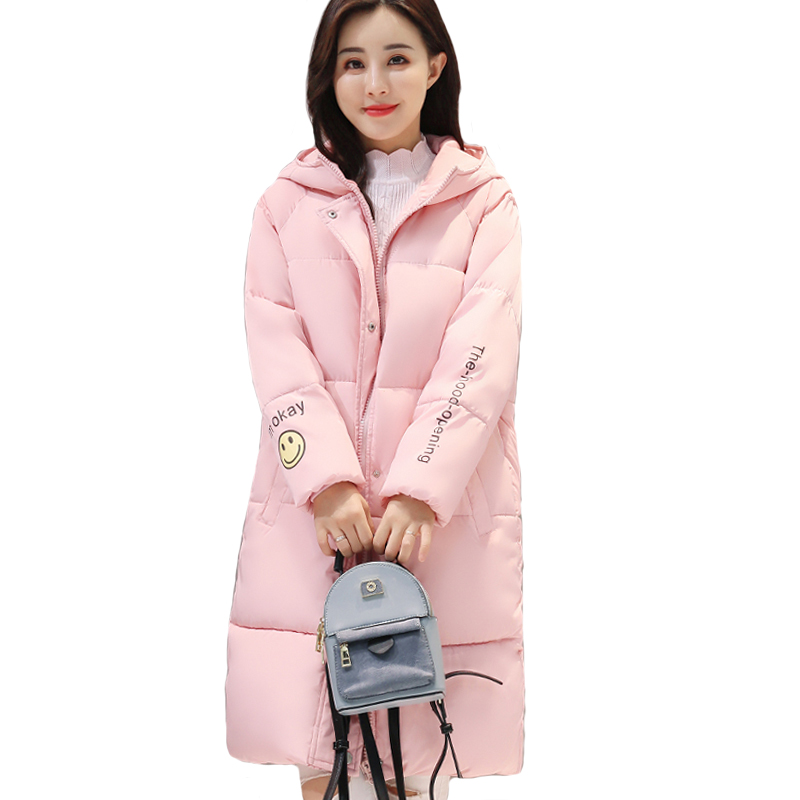 Hooded warm cotton padded womens coat   parka   solid color outerwear for women winter jacket long casaco feminina inverno