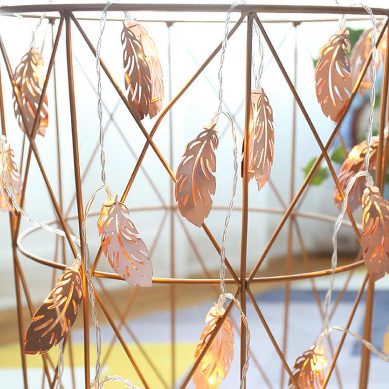 100 Led Rose Gold Metal Feather Battery Operated String Lights 10m Led Decoration For Christmas Garland On The Window New Year