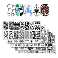 BORN PRETTY 5 Sheets Set 12 6cm Nail Art Stamp Template Image Plate Flamingo Unicorn Flower