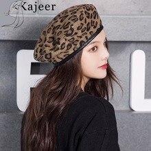 Kajeer Leopard Beret Female Autumn Winter Hats For Women Vintage Painter Flat Ca