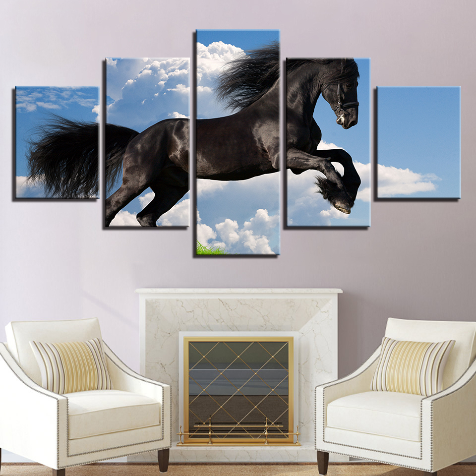 Wall Art Canvas Painting Modular Picture 5 Panel Animal Black Horse Home Decoration For Living Room Modern Printing Type
