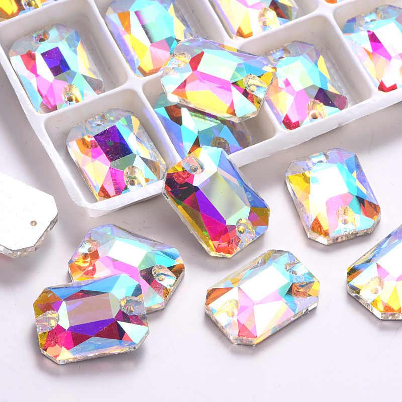 13x18 мм 24 шт. прямоугольный восьмиугольный прозрачный кристалл AB пришитые Стразы с плоским основанием 2 отверстия для шитья камней для свадебного платья Y3268