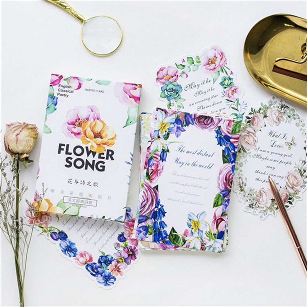 30 Pcslot Greeting Card Flower Wreath English Classic Poetry