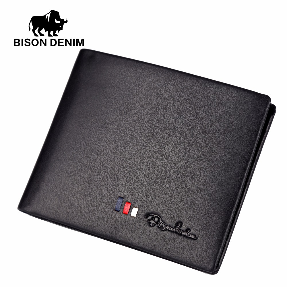 BISON DENIM Men Wallets Genuine Leather Wallet Purse For Men Black Business Casual ID Card Holder Male Leather Wallets N4382 bison denim new 2017 leather genuine wallet men and women purse card holder brand men wallet dollar price wallets gifts w4361