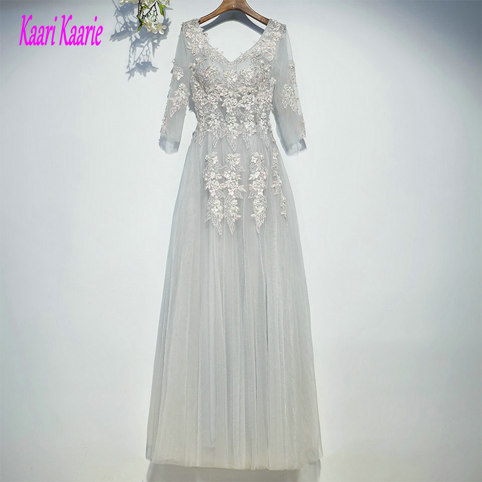 Formal Silver   Evening     Dresses   Long 2019 Sexy   Evening   Gown V-Neck Tulle Appliques Beading Lace Up Custom Made Women Party   Dress