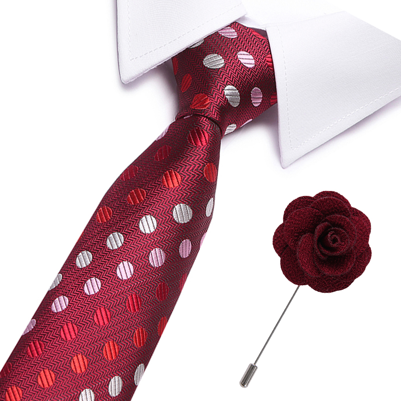 Men Ties Polka Dot Color Tie And Brooch  Necktie Men's Business Wedding BowTie Male Legame Gift Gravata England JACQUARD WOVEN