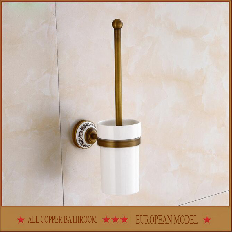 Free shipping Pure copper ceramic toilet brush  kitchen and toilet hardware toilet brush set high-grade villa  toilet brush rack