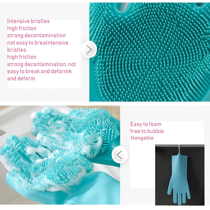 Silicone Work Gloves With Brush For Washing Kitchen And For Household