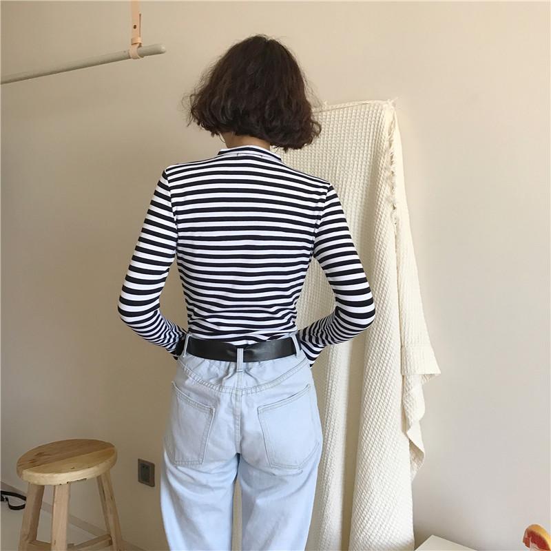 19 Korean Style Long Sleeve T Shirts Women New Hot Sale Student T-shirt Womens Fashion Harajuku Striped Female Slim Femme Lady 16