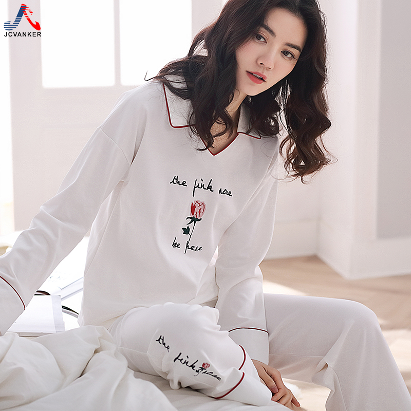 JCVANKER 2018 Fashion Pure Cotton Pajamas Set For Women White Full Pants Female Sleepwear Lady Homewear Indoor Home Clothes Suit