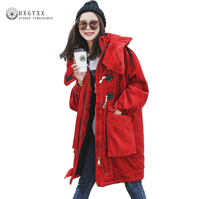 Winter Woman Corduroy Outerwear Fashion Loose Plus Size Cotton Padded Jacket 2017 Long Casual Horn Button Military Coat Okb347 qazxsw woman basic coat woman winter jacket for women woolen poncho jacket single button loose cotton padded abrigos mujer hb118
