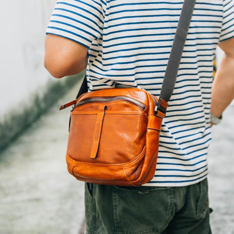 AETOO Men s leather crossbody bag Large capacity retro casual single shoulder bag male leather shoulder