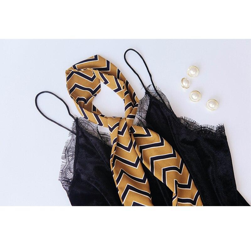 2018 Stripe Print Neckerchief Women Scarf Fashion Foulard Headband Long Office Hostess Wraps Female Bag Handle Ribbons 146*7cm