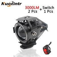 2PCS Motorcycle LED Headlight 3000LM U7 Waterproof Driving Spot Head Fog Light Lamp Switch Moto Accessories
