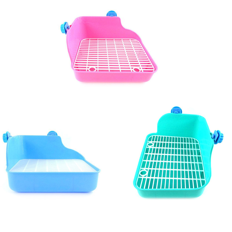 Pet Cat Rabbit Pee Toilet Plastic Small Animal Toilets Hamster Guinea Pig Litter Tray Corner Pet Litter Training Tray 24*18*11cm