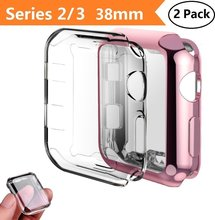 for Apple Watch Series 2/3 Case, 2-Pack All Around Protective Cover Case Screen Protector for iWatch 2/3 - Clear+Pink ashei watch accessories for apple watch screen protector tpu case all around protective 0 3mm ultra thin cover for iwatch 3 2 1