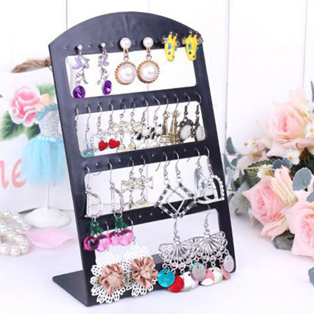 48 Holes Jewelry Organizer Stand Black Plastic Earring Holder Pesentoir Fashion Earrings Display Rack Etagere 2018