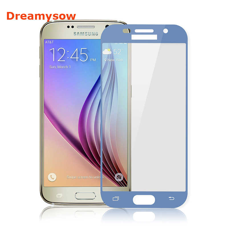 Dreamysow Blue Color Glass For Samsung Galaxy J730 J530 J3 A5 A3 A7 2017 Full Cover Tempered Glass Quality Screen Protector Film