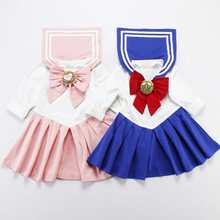 ילד תינוק פעוט ילדה סיילור מון ליל כל הקדושים Cosplay תלבושות יפן בית ספר אחיד חליפת לוליטה שמלה ארוך שרוול שמלה