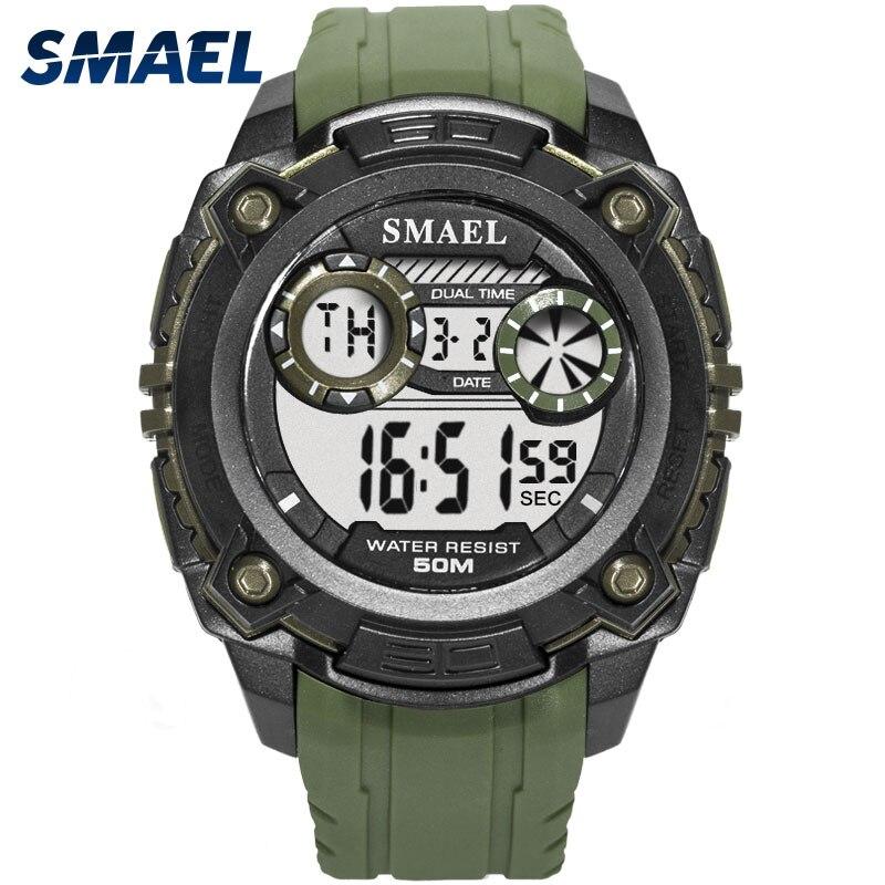 SMAEL Digital Watch Military Multifunction Men 50m Waterproof LED Sport 1390 Army Top-Brand