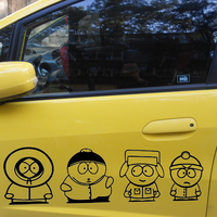 25cm x 22cm 4pcs Funny JDM South Park For Car Sticker For Cars Door Side Rear Windshield And Wall Vinyl Decal 13 Colors