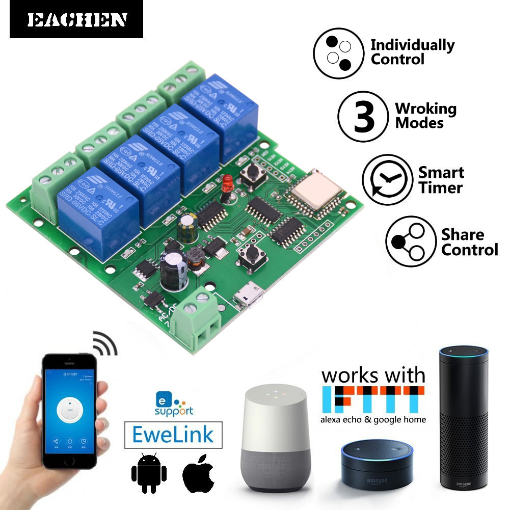 Easy Micro Wifi Intelligent Switch Point Auto-lock Interlock Remote Control 4-way Relay Module ST-DC4