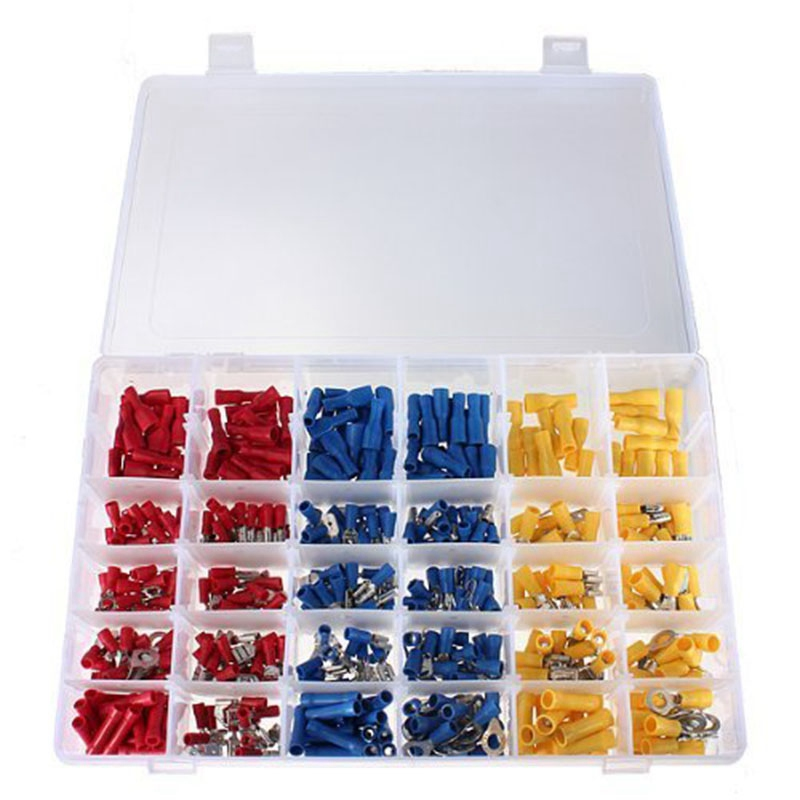 Mayitr 480pcs Colorful Assorted Insulated Electrical Wire Crimp Terminal Connector Butt Spade Ring Set Kit Red Yellow Blue 480pcs set assorted crimp terminals set insulated electrical wire connector spade set fuli