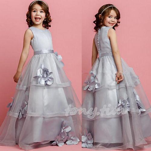 Grey Organza Tutu Party Prom Princess Pageant Bridal Wedding Flower Girl Dress свадебное платье bridal wedding dress vestido organza wedding dress