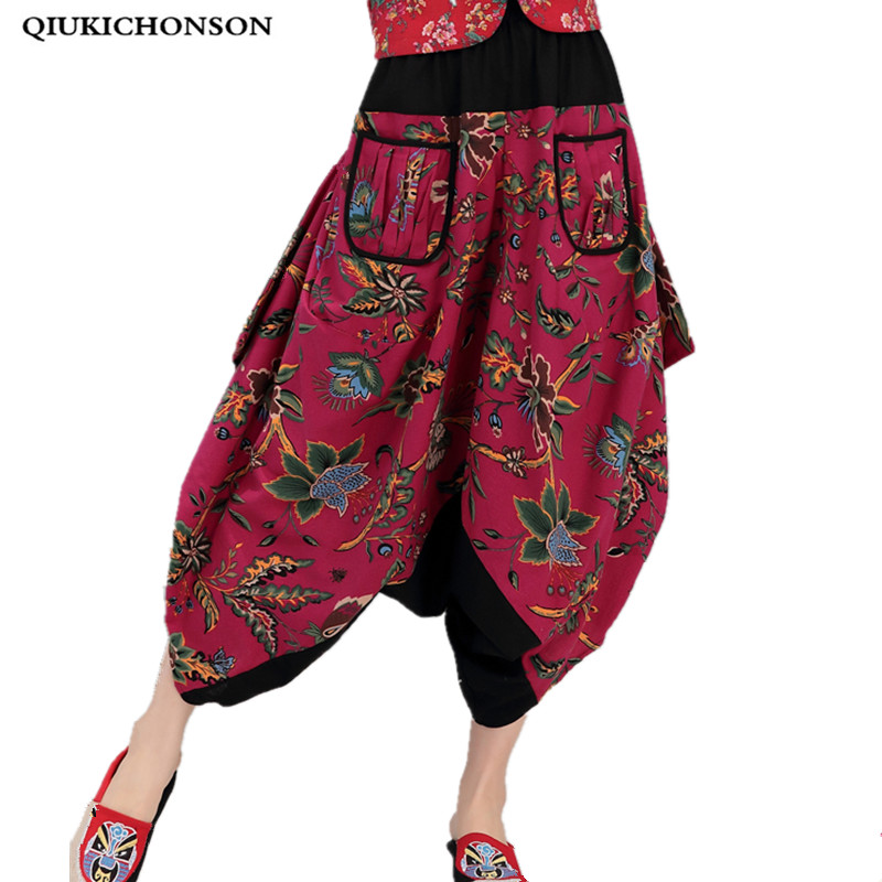 Loose Printed Cross-Pants Femme Spring/Summer 2019 Bohemian Cotton And Linen Pockets Colorful Plus Size Ankle-Length Pants Women