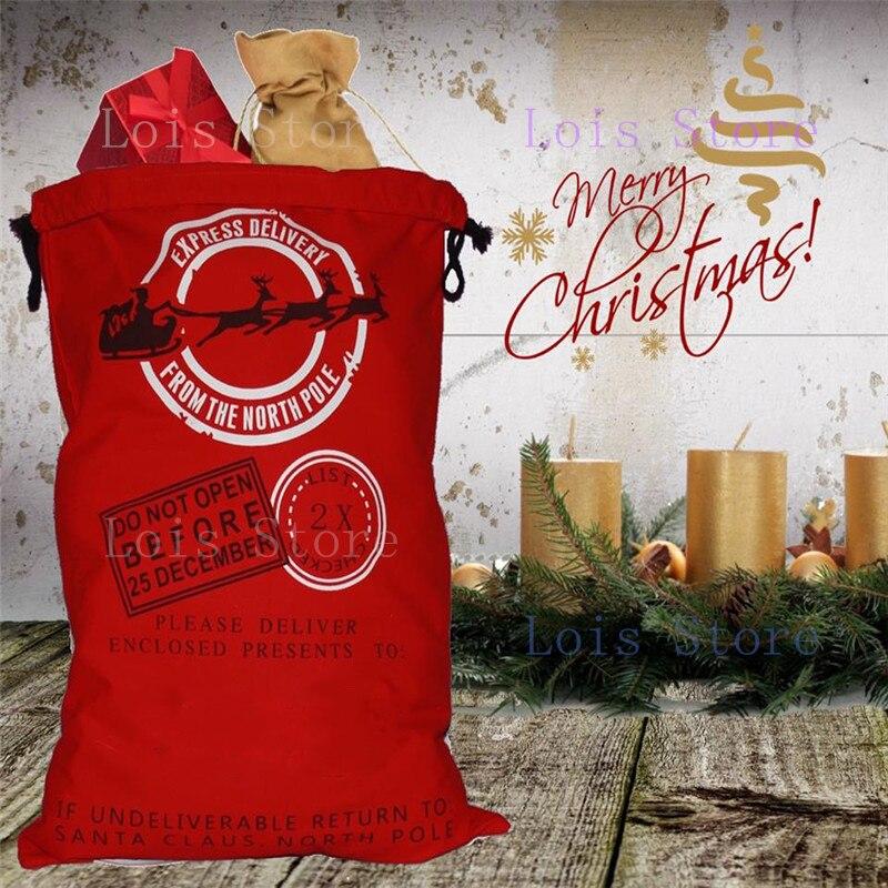 Hot Sale 1pc Christmas Sacks 12 Styles Canvas Santa Sacks Xmas Gift Stocking Bag Santa Claus Deer Festive Supplies 2018 New Year