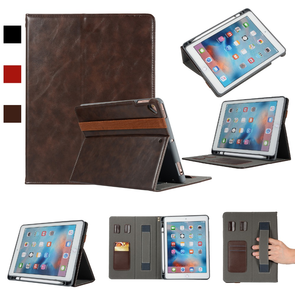 For Apple ipad 9 Case With Pencil Holder Hand Strap Tablet Cover ipad9 Auto Sleep /Wake UP Leather Stand shell