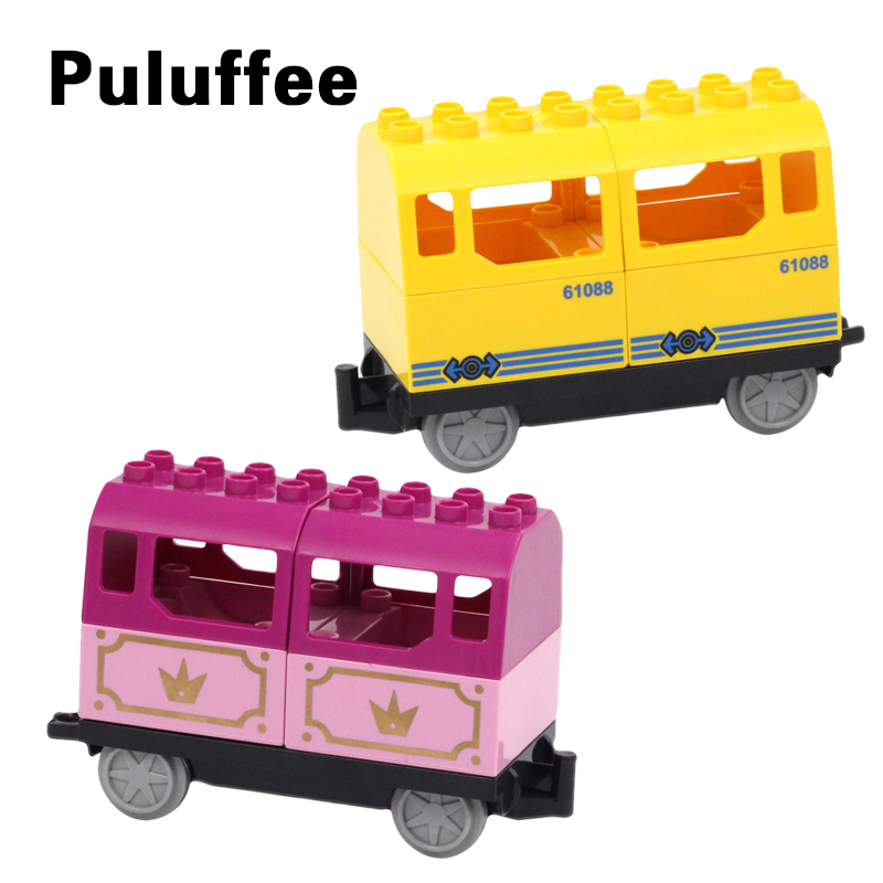Big Size Diy Building Blocks Compatible With Duplo Train Construction Blocks Railway Station Carriage Coach Educational Toys