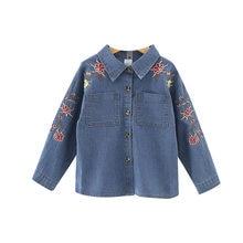 173589dd3 Moda Otoño niños niñas niños bebé manga larga flor bordado blusas princesa  Denim Jeans Outwear Tops S7186
