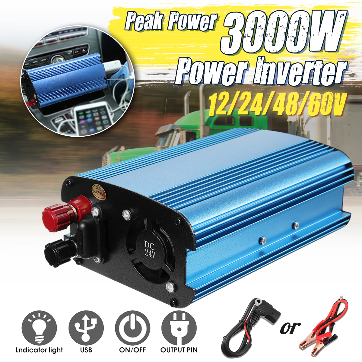 Solar Inverter 3000W Preak Power 12V/24V/48V/60V To 220V DC-AC Car Inverter Sine Wave Solar Convertor Voltage Transformer