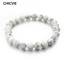 CHICVIE Natural Stone Strand Bracelets With Stones Casual Men Jewelry White Turquoise Beads Bracelets & Bangles for Women 2017