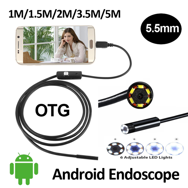 5.5mm OD Android USB Endoscope Camera 1M/1.5M/2M/3.5M/5M Snake Tube Inspection Waterproof OTG USB Andorid Borescope Camera
