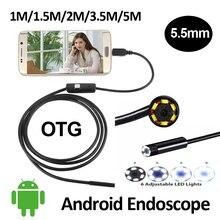 5.5mm OD Android USB Endoscope Camera 1M/1.5M/2M/3.5M/5M Snake Tube Inspection Waterproof OTG USB Andorid Borescope Camera