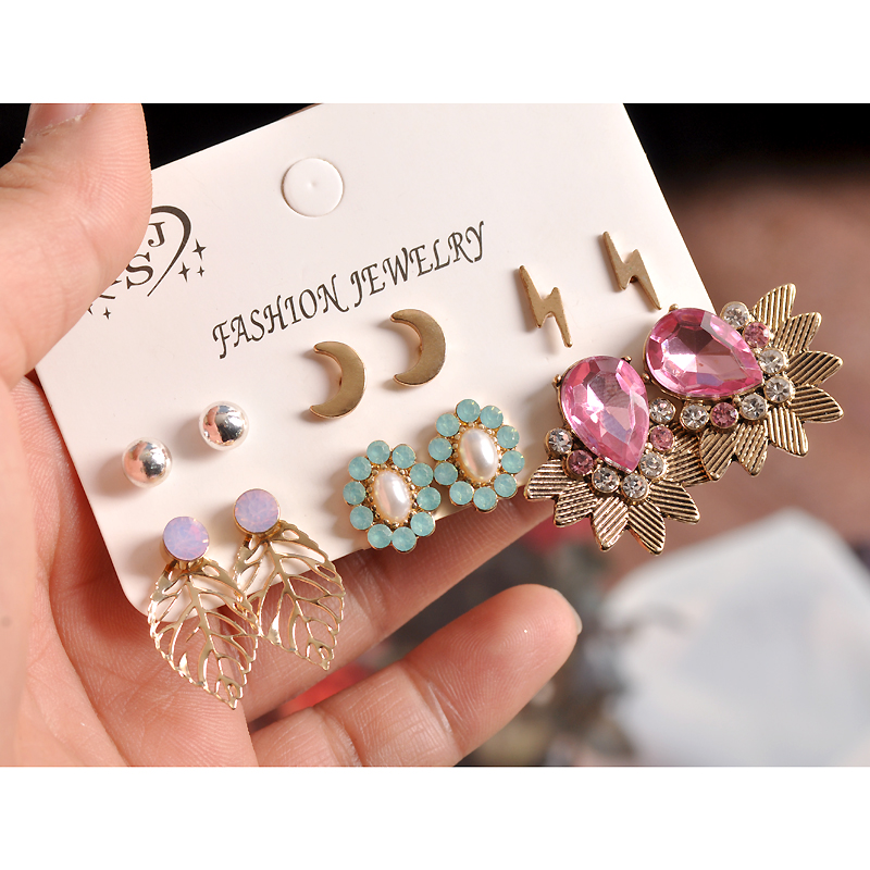 a666fe2adfe6 2018 hot sell fashion gorgeous women's jewelry wholesale girl birthday  party pink pendant suit 6 pairs