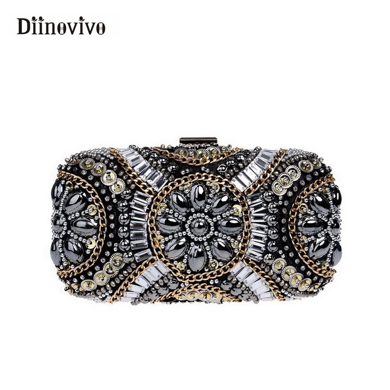 DIINOVIVO Luxury Evening Bag Women Designer Handbag Small Black Shoulder Bag European and American Style Party Clutch WHDV0433
