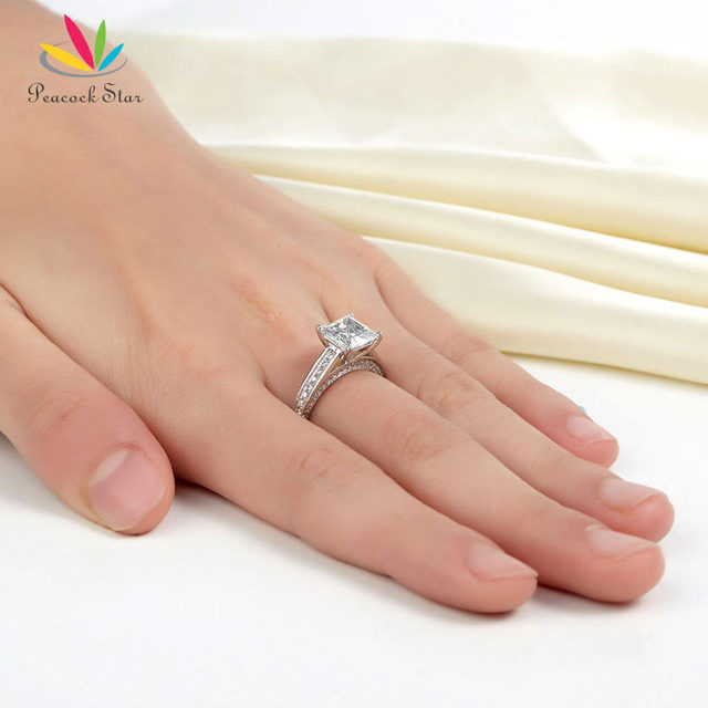 Pavone Star 925 Sterling Silver Anniversario di Matrimonio di Fidanzamento Anello 1.5 Ct Della Principessa Cut Gioielli CFR8009