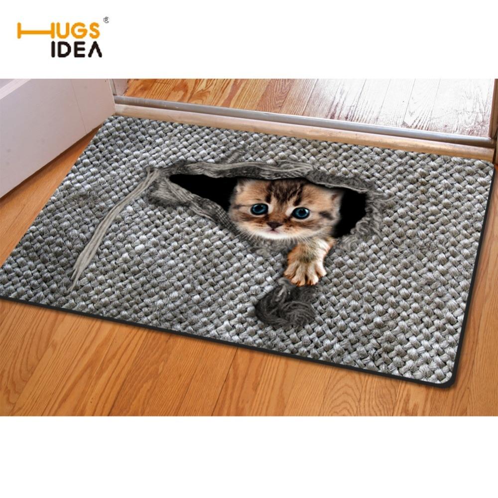 HUGSIDEA 귀여운 3D 동물 고양이 올빼미 패턴 비 - 슬립 침실 거실 층 카펫 깔개 실내 야외 입구 Dootmat 매트