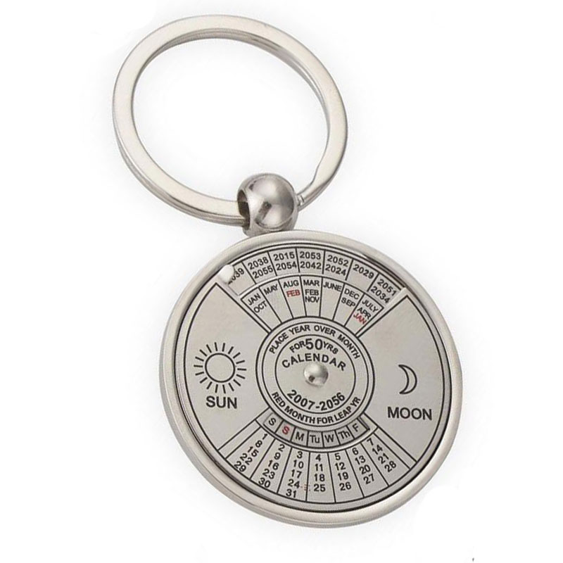 Silver Color 50 Years Super Perpetual Calendar Key Chains Rings Astrology KeyChains Car Bag Pendant Keyring Holder Gift Jewelry 50 years perpetual calendar keyring keychain silver alloy key ring keyfob decoration 8ou9