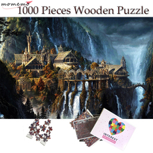 MOMEMO The Elf Castle Plane 1000 Pieces Puzzle Wooden Jigsaw 50*75cm Size Fantasy Landscape for Adults Teens Puzzles Toys