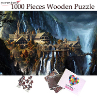 MOMEMO The Elf Castle Plane 1000 Pieces Puzzle Wooden Jigsaw Puzzle 50*75cm Size Fantasy Landscape for Adults Teens Puzzles Toys