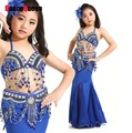 2017 New Arrival Kids Girl Belly Dance Saia Cigana Costumes Flamenco Vestido Indiano Top-Bra&Belt&Skirts Tulle 8Colors One Size