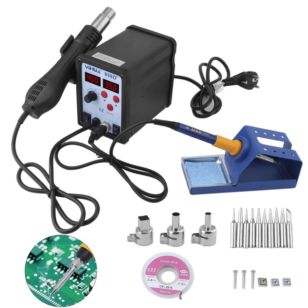 (Ship From DE)2 In 1 Digital Welding Desoldering Iron Hot Air Gun Soldering Rework Station 700W Desoldering Station EU Plug